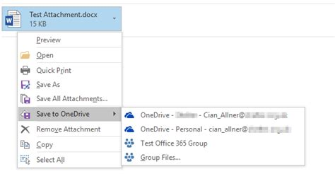 Office 365 Outlook Won T Send Emails by Save Attachments From Outlook 2016 To Onedrive Microsoft