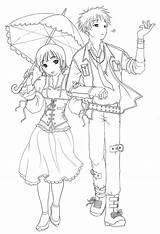 Coloring Anime Couple Couples Drawings Furuba Template Printable Manga Boys Child Chibi Boy Colouring Raining Even Drawing Cartoon Sketch Fox sketch template