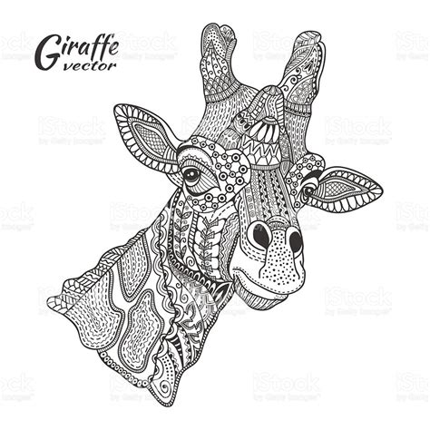 giraffe coloring pages  adults zentangle art