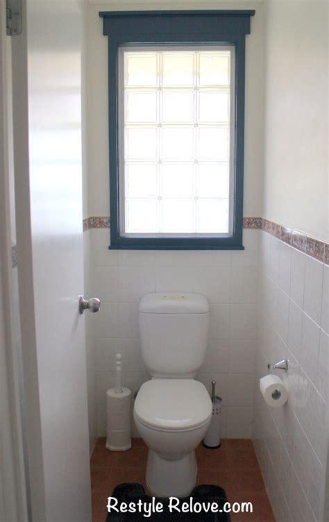 toilet  bathroom restyled  terracotta  blue