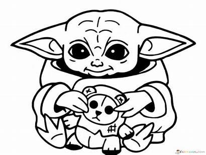 Yoda Coloring Mandalorian Wars Printable Cartoon Drawing