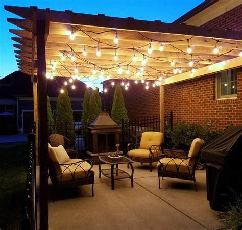 pergola string lights set  romantic mood   backyard
