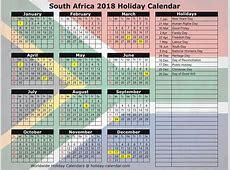 December 2018 Calendar South Africa Calendar Template
