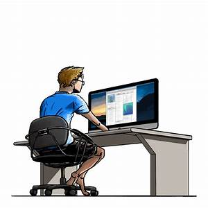 A guy working on his computer (colored edition) by ...