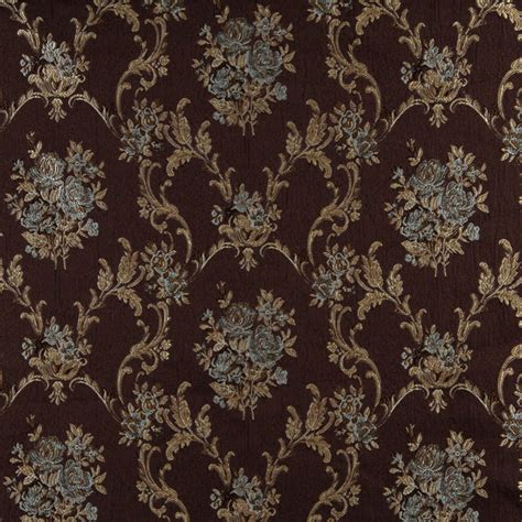 Brocade Upholstery Fabric - cocoa aqua and brown antique vintage large floral