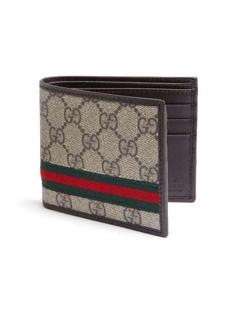 gucci gg supreme canvas bi fold wallet brown men lyst