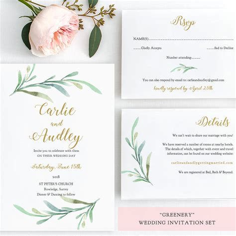Greenery Wedding Invitation Set Templates Printable
