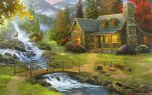 House, Near, River, Painting, Building, Thomas, Kinkade