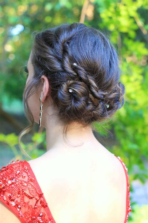 rope twist updo homecoming hairstyles cute girls