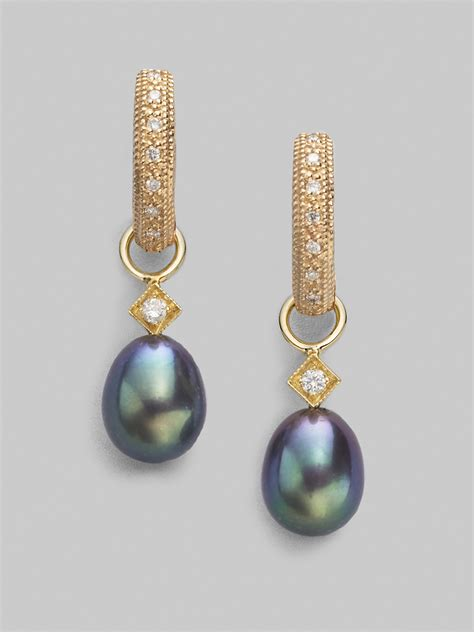 Jude frances Diamond 18k Yellow Gold Black Pearl Briolette