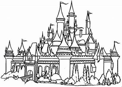 Coloring Disneyland Castle Printable Sleeping Getcolorings