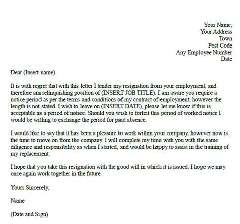 formal resignation letter  notice period employment