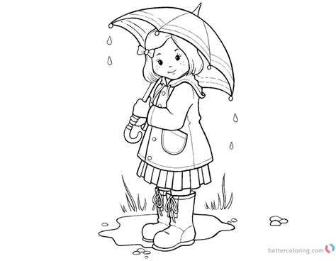 Raindrop Coloring Pages Umbrella Girl