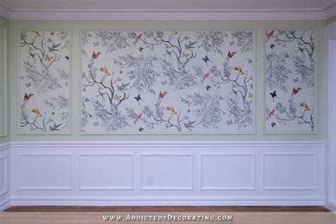 hand drawn birds butterflies entryway wall mural
