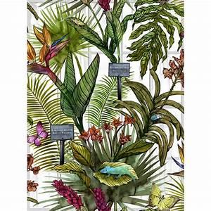 glasshouse tropical botanical print wallpaper by terrarium ...