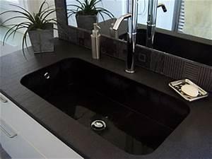evier quartz noir stunning plan de cuisine granit noir With salle de bain design avec evier granit blanco