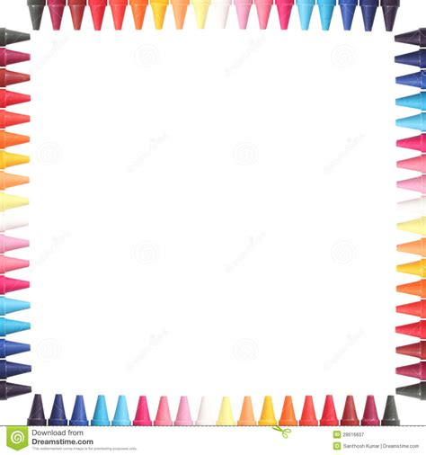 multi color pastelcrayon pencils border isolated royalty