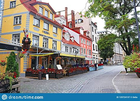 Restaurants And Colorful Buildings On Meistaru Street In ...