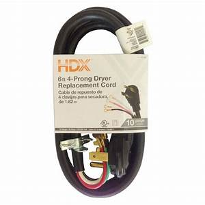 Hdx 6 Ft  4-wire Dryer Replacement Cord-hd 601-004