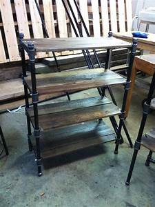 Custom, Made, Pair, Of, Reclaimed, Oak, And, Industrial, Cast, Iron, Pipe, Shelves, By, J, U0026s, Reclaimed, Wood