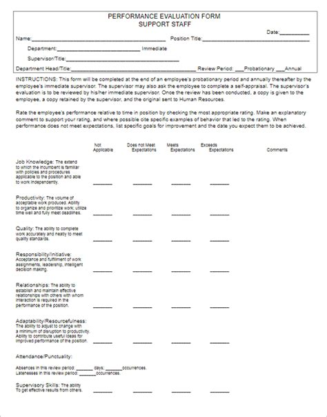 employee evaluation form exle 60 performance evaluation forms templates free sles