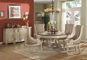 Halyn, Antique, White, Round, Formal, Dining, Room, Set