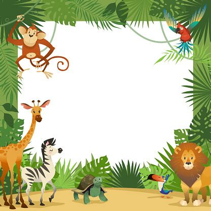 jungle animals card frame animal tropical leaves greeting