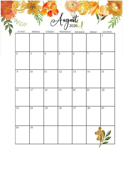 beautiful printable august  calendars