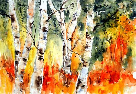 aquarell watercolor birke birkenwald birch langau