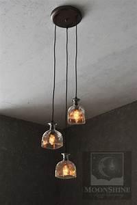 Clear Pendant Lights Patron 3 Light Bottle Chandelier Moonshine Lamp Company