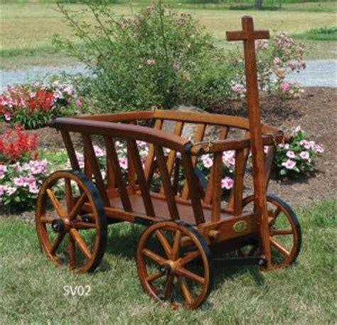garden yard decor buckboard wagon wheelbarrow planters