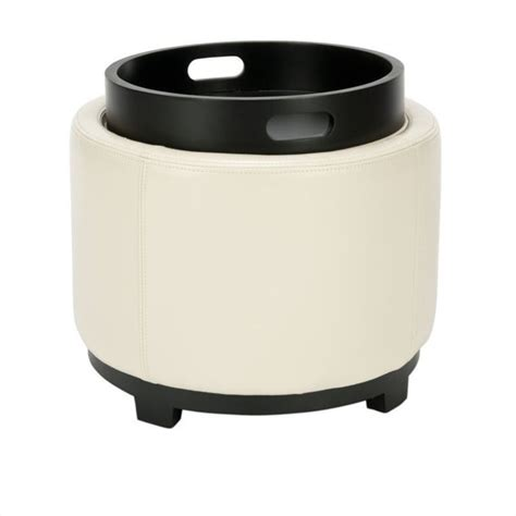 round storage ottoman with tray safavieh lila single tray leather storage round ottoman in