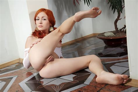 Wallpaper Aneti Red Haired Sexy Girl Legs Pussy Tits