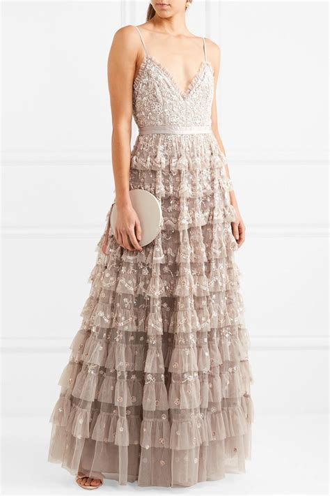 needle thread marie tiered embellished tulle gown