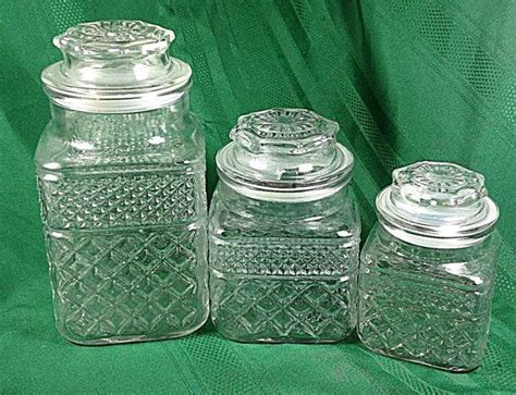 clear glass kitchen canister sets wexford canister set of 3 vtg anchor hocking clear