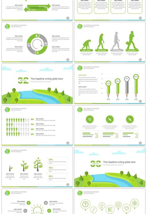 awesome flat green environmental reporting  template