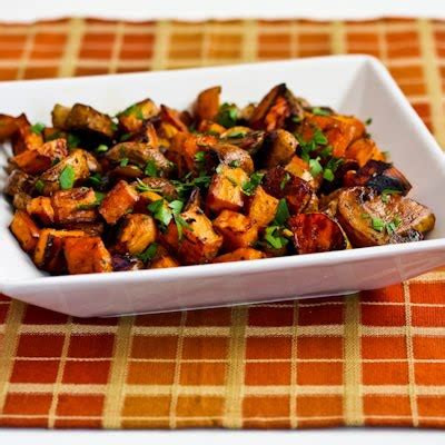 sweet potato recipie kalyn s kitchen 174 roasted sweet potatoes and mushrooms with thyme and parsley paleo gluten free