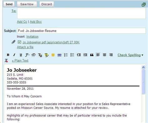 Emailing A Resume by How To Write An Email With A Resume And Cover Letter