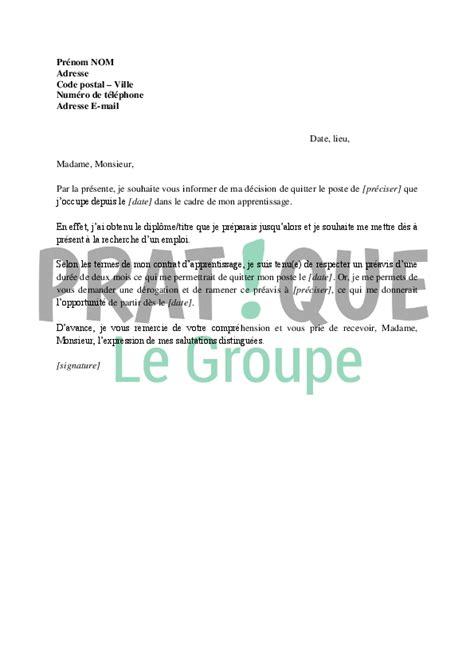 contrat d apprentissage cuisine lettre de démission d 39 un apprentissage pratique fr