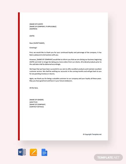letter  closing  business template word