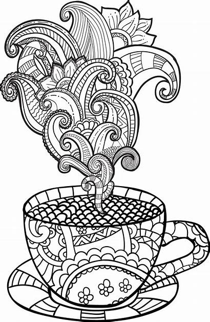 Coloring Coffee Tea Cup Pages Colouring Adult