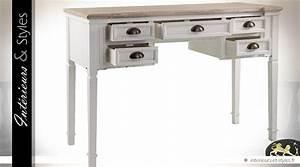 Bureau But Blanc : bureau blanc et bois naturel style cottage int rieurs styles ~ Teatrodelosmanantiales.com Idées de Décoration