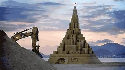 Sand Castle Build Excavators Destroy Tallest Then
