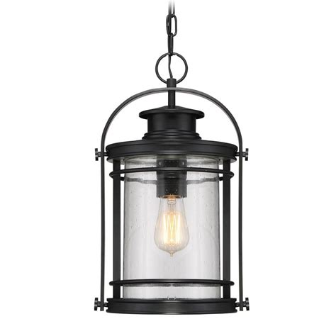 Black Porch Light by Seeded Glass Outdoor Hanging Light Black Quoizel Lighting
