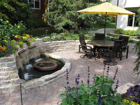 backyard patio with water feature traditional patio
