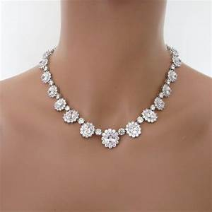 Cz jewelry set bridal necklace set crystal wedding for Wedding ring necklace