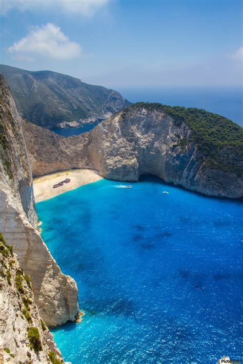 Navagio Beach With Shipwreck And Flowers On Zakynthos