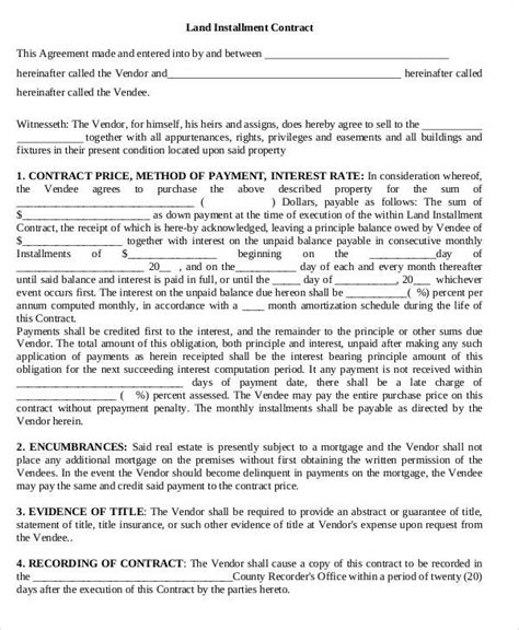 installment land contract form 7 land contract templates exles in word pdf