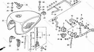 Honda Motorcycle 1996 Oem Parts Diagram For Fuel Tank