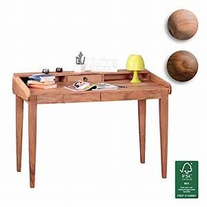 Pc Tisch Holz : finebuy schreibtisch massiv holz akazie computertisch 117 cm breit mit 3 schubladen design b ro ~ Markanthonyermac.com Haus und Dekorationen